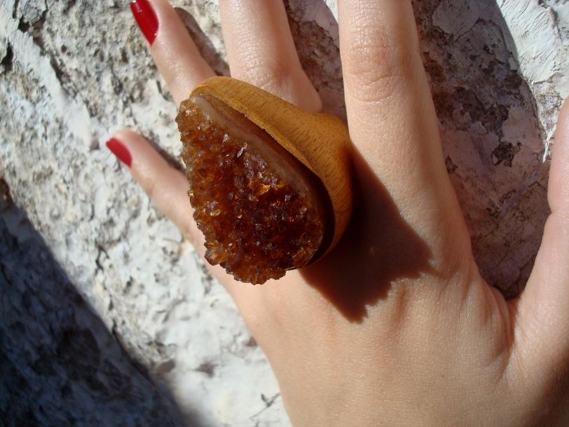 anel gota citrino bruto