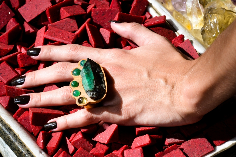 anel bruto esmeralda