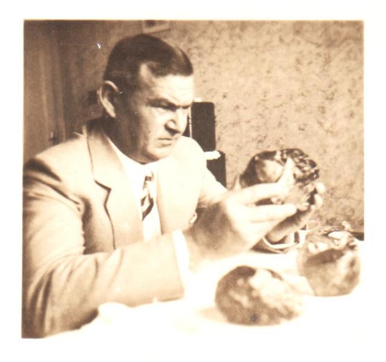 Hugo Ziemer examinando lotes de águas marinhas brutas.