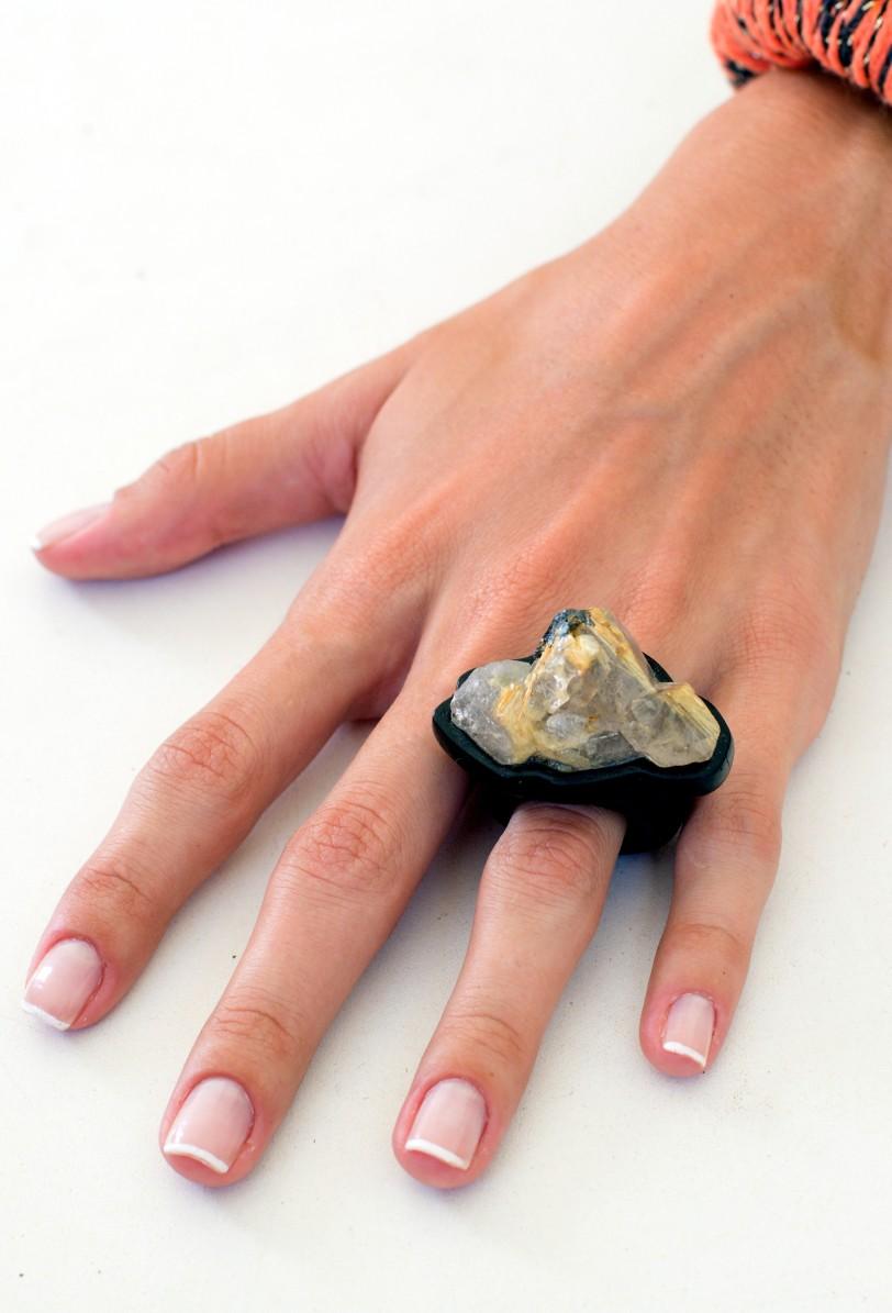 anel rutilo dourado bruto ar essencial